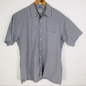 IZOD Navy Blue Checked Short Sleeve Shirt Large